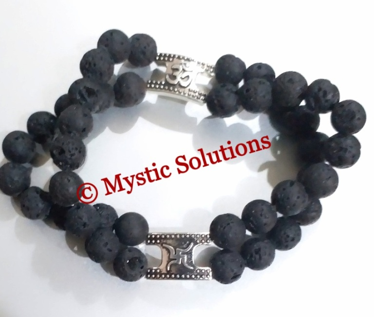 Mystic Solutions Double Lava Bead Bracelet with OM and Swastik Pic1
