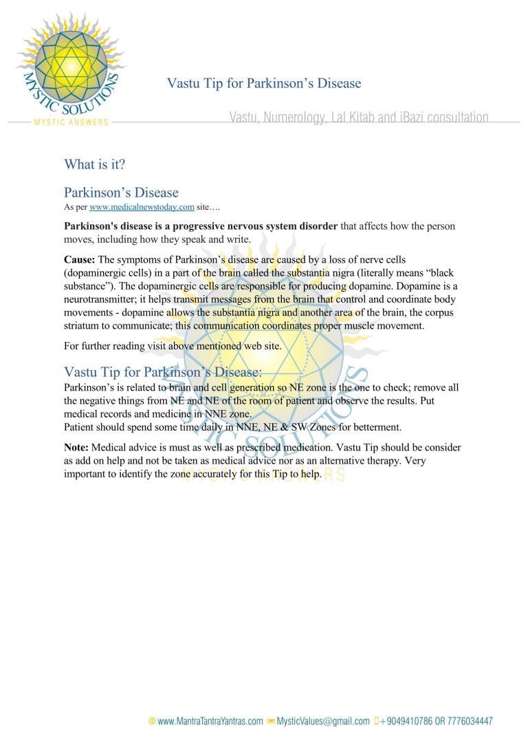Vastu Tip for Parkinsons Disease By Mystic Solution_Page_1