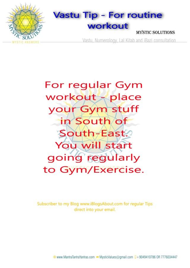 Vastu Tip for Gymming