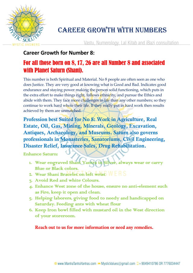 Career Growth for Number 8 By Mystic Solutions