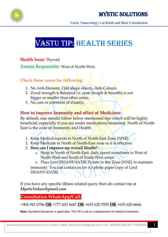 Vastu Tip Health Series Part 3 By Mystic Solutions_Page_1