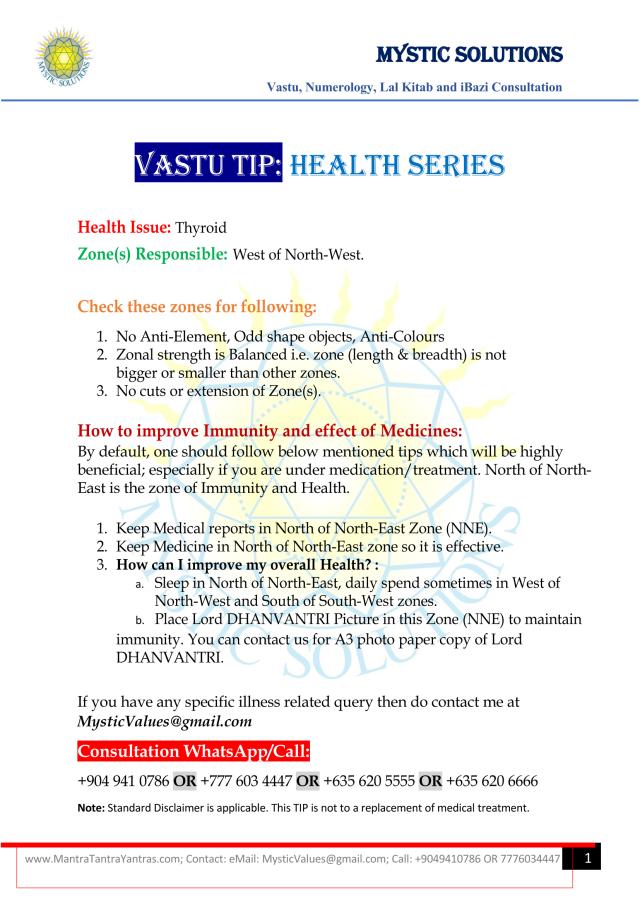Vastu Tip Health Series Part 3 By Mystic Solutions_Page_1