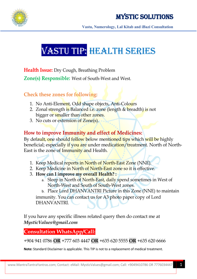 Vastu Tip Health Series Part 4 By Mystic Solutions_Page_1