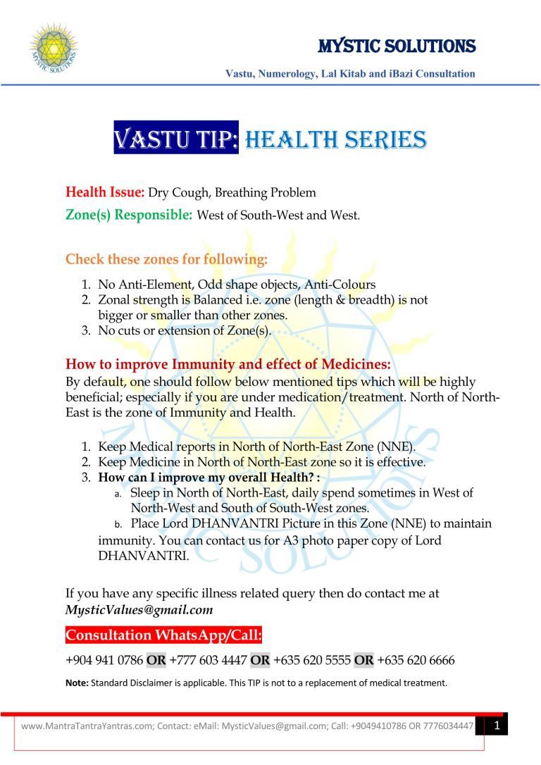 Vastu Tip Health Series Part 4 By Mystic Solutions_Page_1