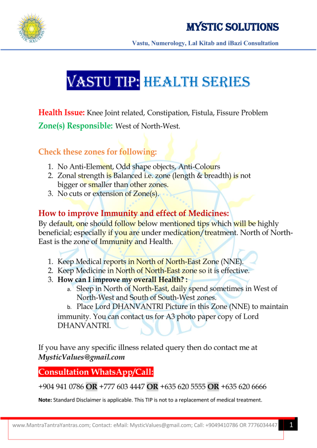 Vastu Tip Health Series Part 5 By Mystic Solutions