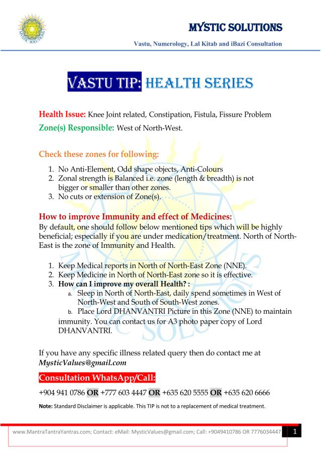 Vastu Tip Health Series Part 5 By Mystic Solutions