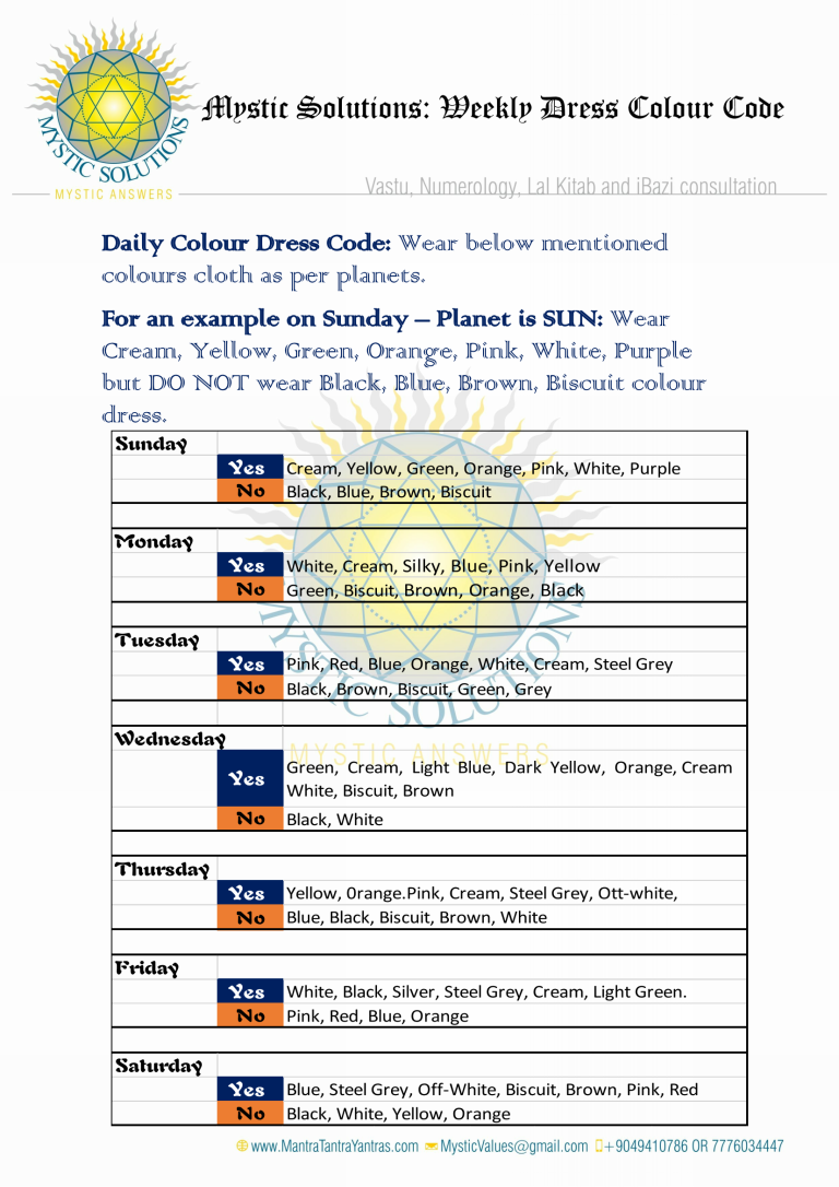 MYSTIC SOLUTIONS – Weekly Colour Dress Code as per Astro